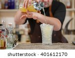 bartender pouring cocktail into ... | Shutterstock . vector #401612170