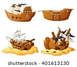 set of broken pirate ship   Shutterstock .eps vector #401613130