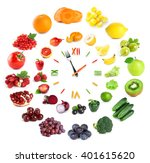food clock with vegetables and... | Shutterstock . vector #401615620