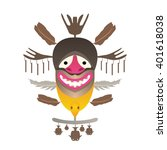 tribal mask with feather and... | Shutterstock .eps vector #401618038