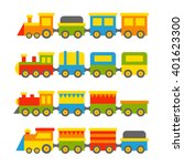 simple style color toy trains... | Shutterstock .eps vector #401623300
