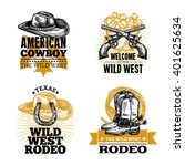 set of cowboy colored isolated... | Shutterstock .eps vector #401625634