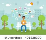 black young man chatting online ... | Shutterstock .eps vector #401628370
