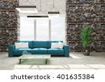 modern interior of living room... | Shutterstock . vector #401635384