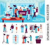 journalist and pressmen  set... | Shutterstock .eps vector #401635558