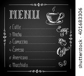 coffee menu on black background ... | Shutterstock .eps vector #401683306