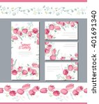 floral spring templates with... | Shutterstock .eps vector #401691340