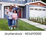 happy black family standing... | Shutterstock . vector #401695000