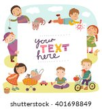 group of children playing. ... | Shutterstock .eps vector #401698849