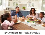 parents and their two children... | Shutterstock . vector #401699038