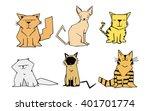 cartoon geometric cats   Shutterstock .eps vector #401701774
