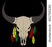 buffalo skull with feathers on... | Shutterstock .eps vector #401705230