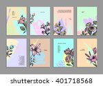 cards set with herbs and... | Shutterstock .eps vector #401718568