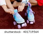 young girl tie shoelaces on... | Shutterstock . vector #401719564