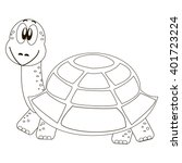 Cartoon Turtle For Coloring Book