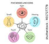 five senses line icons. human... | Shutterstock .eps vector #401727778