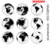 set of different globe... | Shutterstock .eps vector #401728900