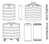 industrial empty water tanks... | Shutterstock .eps vector #401733094
