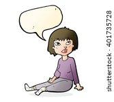 cartoon woman sitting on floor... | Shutterstock .eps vector #401735728