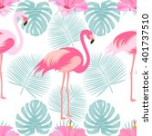 tropical  exotic seamless... | Shutterstock .eps vector #401737510