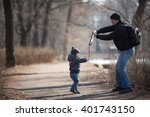 father and his son are playing... | Shutterstock . vector #401743150