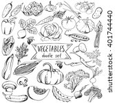 vegetables doodle set isolated... | Shutterstock .eps vector #401744440