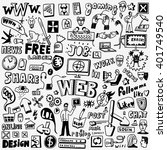 web doodles set | Shutterstock .eps vector #401749540