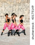 Beautiful modern dancers at  the ancient stairs of  Kourion amphitheatre in Cyprus. - stock photo