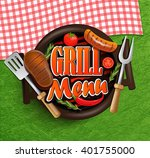 bbq grill elements  ... | Shutterstock .eps vector #401755000