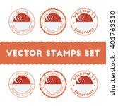 singaporean flag grunge rubber... | Shutterstock .eps vector #401763310