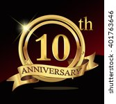 10th golden anniversary logo... | Shutterstock .eps vector #401763646