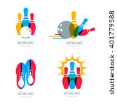set of vector colorful bowling... | Shutterstock .eps vector #401779588