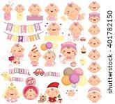 baby girl milestone vector set | Shutterstock .eps vector #401782150