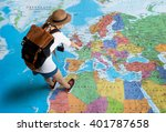 women traveler is planning a... | Shutterstock . vector #401787658