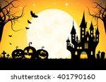 halloween party card template   ... | Shutterstock . vector #401790160