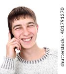 cheerful young man with mobile... | Shutterstock . vector #401791270