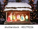 Night shot of a Nativity Scene, Three Kings bow, Three Wise Men - stock photo