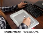 retoucher is working using... | Shutterstock . vector #401800096