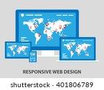 flat responsive web design... | Shutterstock .eps vector #401806789