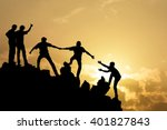team of people work on peak... | Shutterstock . vector #401827843