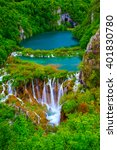 waterfalls in plitvice national ... | Shutterstock . vector #401830780