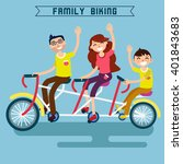 family riding a bicycle. tandem ... | Shutterstock .eps vector #401843683