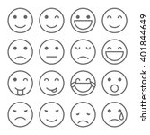 emoji faces simple icons | Shutterstock .eps vector #401844649