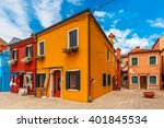 patio with colorful houses on... | Shutterstock . vector #401845534