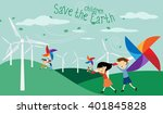 save the earth   green economy... | Shutterstock .eps vector #401845828