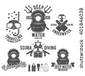 scuba diving labels set....