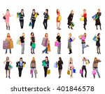 shopping spree crowd of... | Shutterstock . vector #401846578