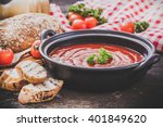 tomato gazpacho soup with... | Shutterstock . vector #401849620