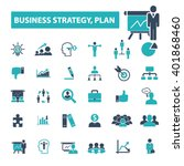 business plan strategy icons   | Shutterstock .eps vector #401868460