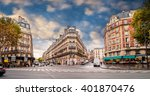 streets of paris  france. blue... | Shutterstock . vector #401870476